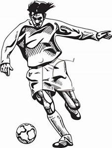 Soccer Player Clip Art Black White – Cliparts