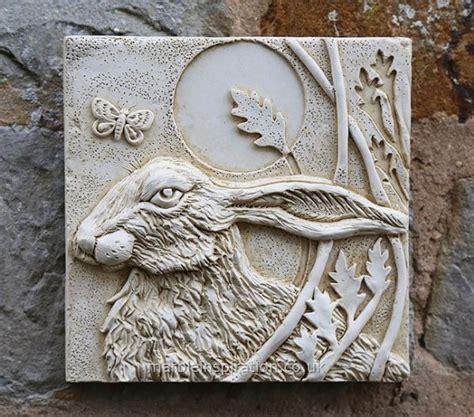 hare wall tile left garden wall plaque garden wall