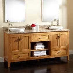 72 quot alcott bamboo double vanity for semi recessed sinks