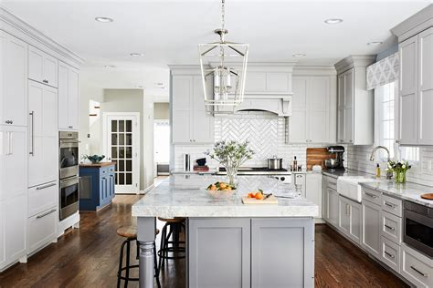 transitional light grey kitchen  dark grey island