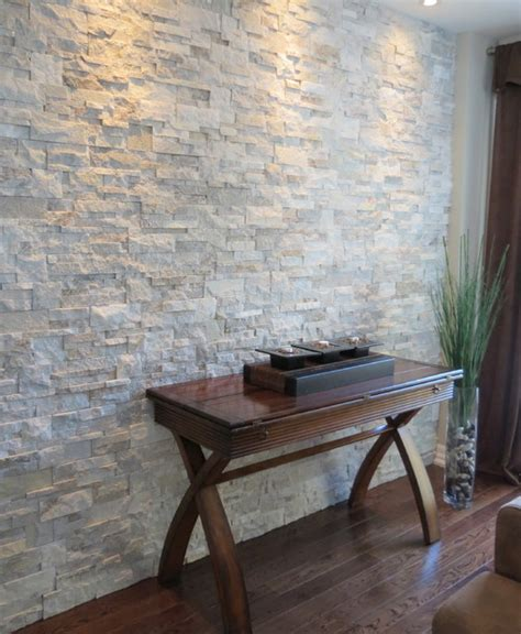interior stone accent walls contemporary living room