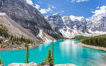 Moraine Banff Lake Mountains 4k National Park