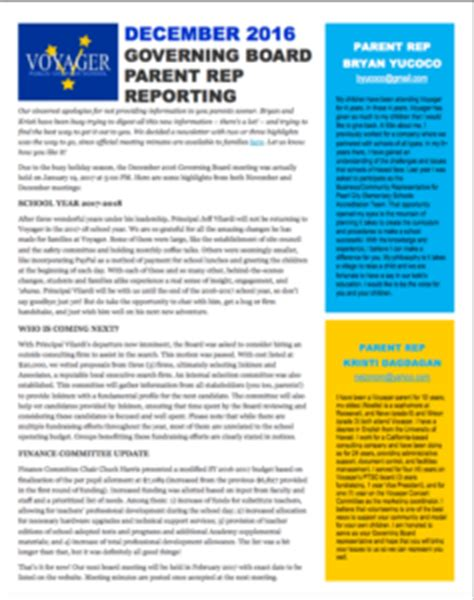 governing board newsletters voyager public charter school