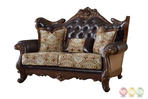 Tufted Leather Loveseat by Modena Winged Back Beige Loveseat With Brown Tufted Leather