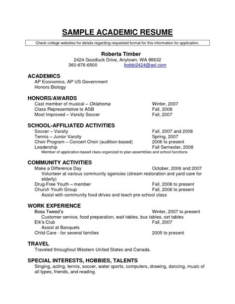 Academic Resume For College by Academic Resume Templates Free Resume Templates