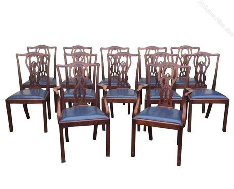 set  twelve antique mahogany dining room chairs