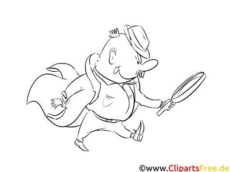 detektiv bild clipart illustration zum ausmalen kostenlos