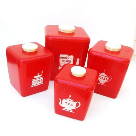 Tea coffee sugar canister set white storage jar with swarovsk crystal elements. Retro Red Canisters 50s Kitchen Canister Set Tea Coffee Sugar Flour Plastic Containers Set of 4 ...