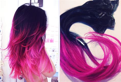 Ombre Hair Extensions Jet Black And Hot Pink Hair