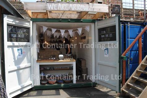shipping container market stalls roller shutters