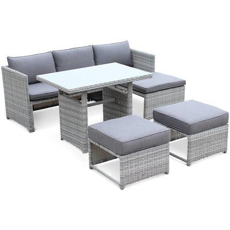 canape de jardin resine salon de jardin reggiano en résine tressée arrondie grise