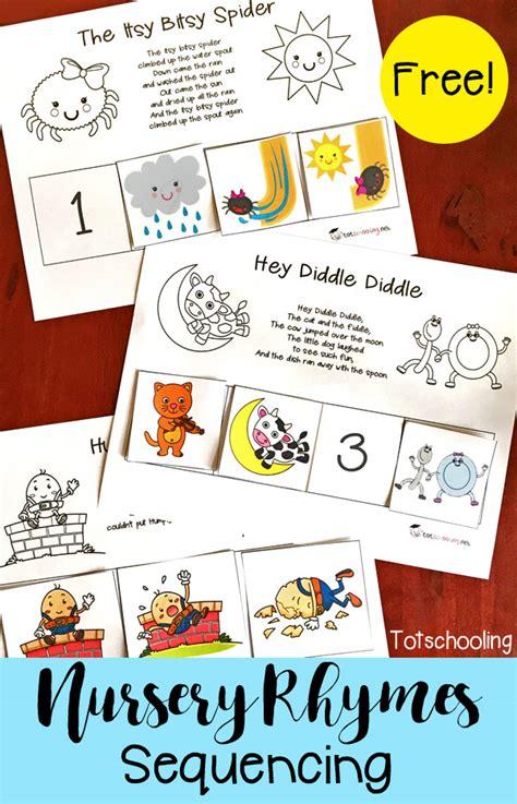nursery rhymes sequencing printables educational