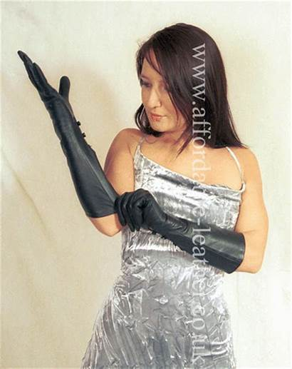 Elbow Wrist Gloves Leather Length Soft Button