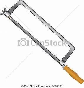 Vector Clip Art of Hacksaw with a wooden handle. Vector ...