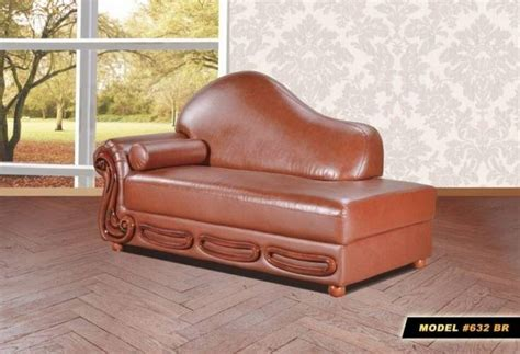 Meridian 632 Bella Brown Bonded Leather Living Room Chaise Traditional Classic (632-bella-brown