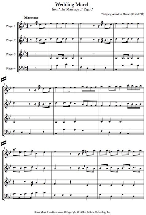 mozart wedding march from the marriage of figaro sheet
