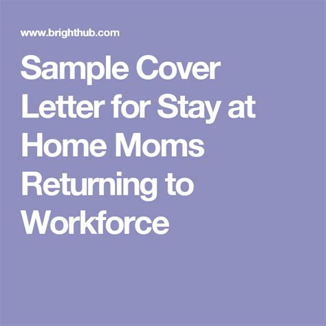 Stay at Home Resume Returning to Work