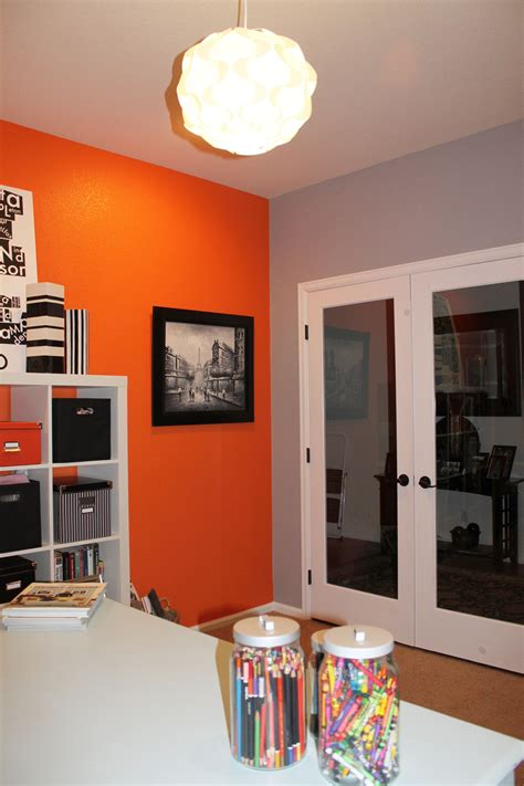 leftover orange paint    accent wall