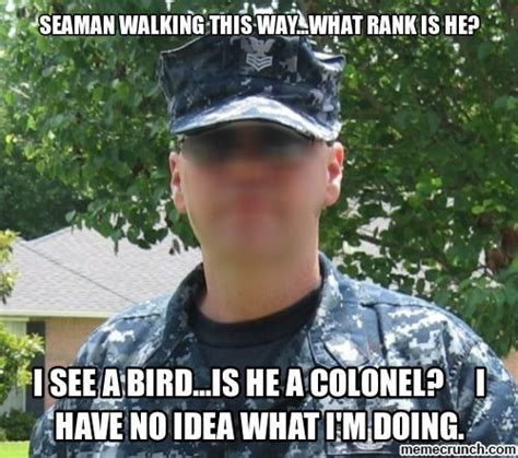 Navy Meme - celebrating the confusion that navy ranks cause in army and air force circles military memes