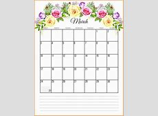 March 2019 Calendar Cute Printable Floral 2019 Monthly