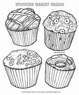 Coloring Muffins Muffin Baked Fresh Blueberry Chocolate Cinnamon Bakery Chip Types Four sketch template