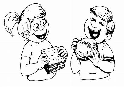 Eat Coloring Drawing Pages Eating Meal Verb