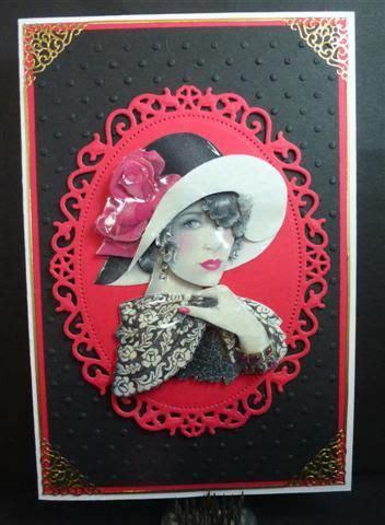big hat lady stamp  handcut  contoured card