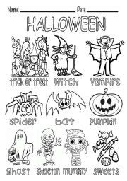 Halloween Vocabulary  Missing Vowels  Esl Worksheet By Macomabi