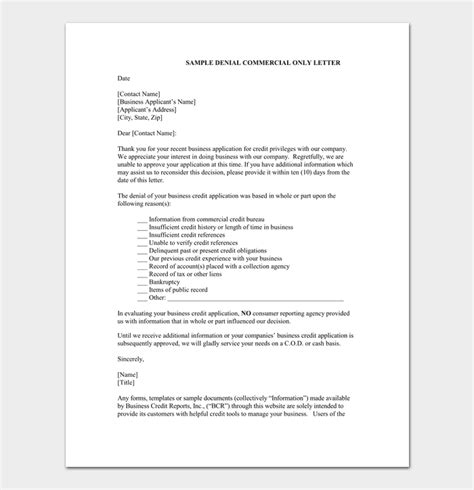 loan rejection letter template  samples examples