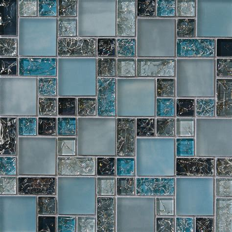 Sample Blue Crackle Glass Mosaic Tile Backsplash Kitchen