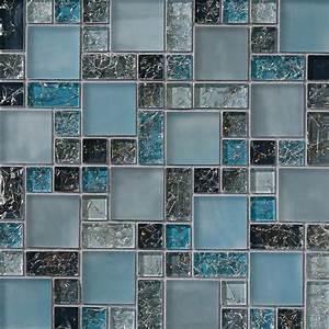 1 sf blue crackle glass mosaic tile backsplash kitchen for Glass backsplash tile