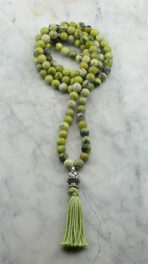 Tender Shoots Mala Beads | 108 yellow turquoise mala beads