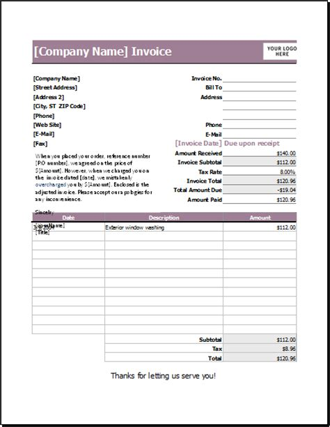 ms excel  performance invoice template word excel