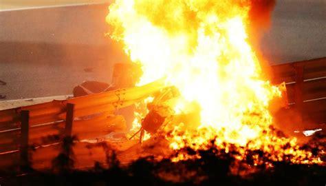 motorsport romain grosjean survives terrifying fiery