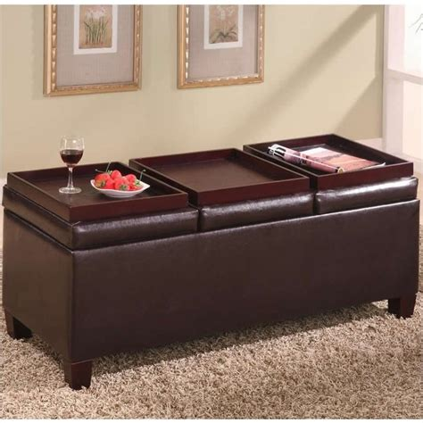 leather ottoman with storage and tray coaster faux leather storage ottoman with reversible trays