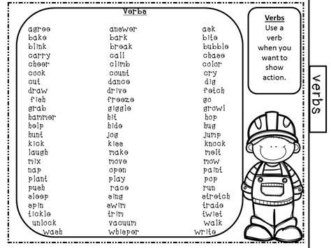 nouns verbs adjectives worksheet 2nd grade adjective