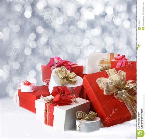 christmas gifts  sparkling party lights stock image