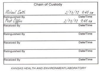 kansas department  health  environment chain  custody