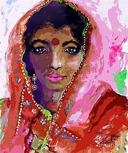 Woman With Red Bindi Indian Beauty Painting by Ginette ...