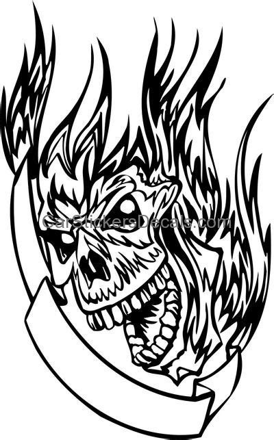 flaming skull sticker  decal car stickers decals