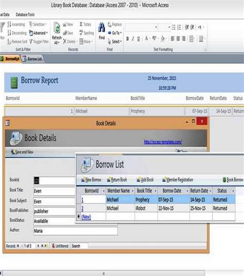 Microsoft Office Database Templates by Ms Access Templates Book Library Database Exles For