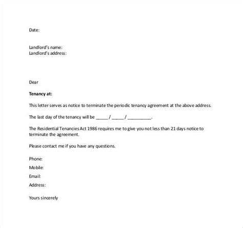 letter  termination tenancy agreement