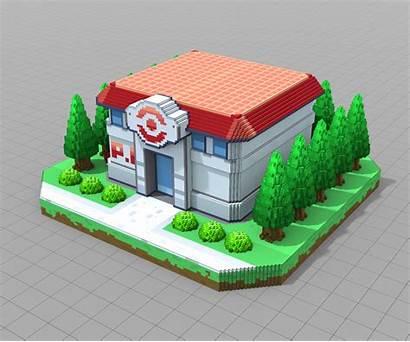 Pokemon Outside Center Brandon Artstation Exterior