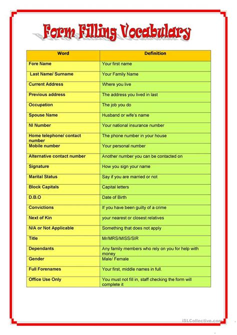 Form Filling Vocabulary Worksheet  Free Esl Printable Worksheets Made By Teachers