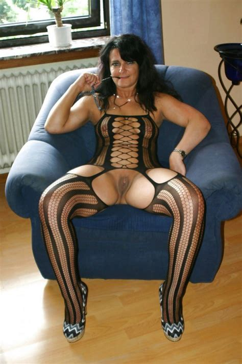 Brunette Mature In Kinky Lingerie Presents Her Pussy