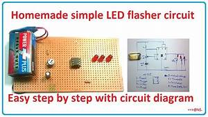 How To Make Simple Led Flasher Circuit - Blinking Flashing Circuit