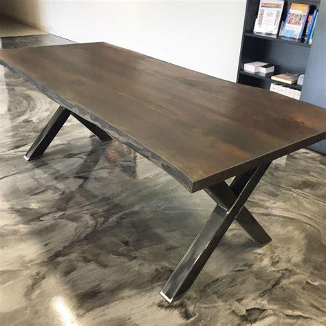 custom  edge table  steel  frame legs visit
