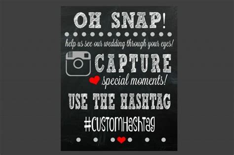 social media hashtag sign wedding sign printable