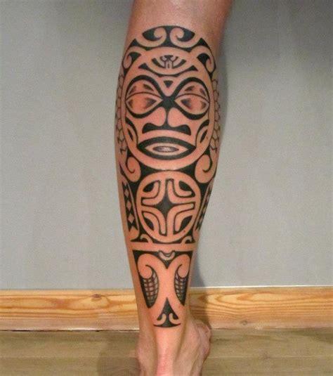 tatouage mollet homme polynesien modeles  exemples