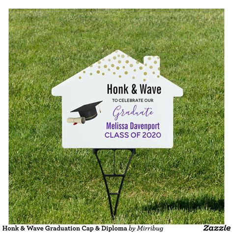 honk wave graduation cap diploma sign zazzlecom   graduation signs graduation